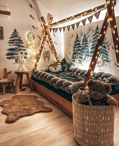camping forest kids room with teepee bed and forest deer wall decal mural #kidsroom #kidsdecor #forestroom #forestnursery #nurseryideas #nurserydecor Magical Bedroom, Forest Bedroom, Dream Bedroom, Woodland Theme Bedroom, Forest Theme Bedrooms, Woodsy Bedroom, Bedroom Themes, Kids Bedroom, Bedroom Decor
