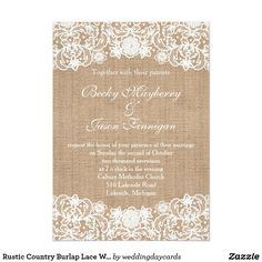 Rustic Country Burlap Lace Wedding Invites
