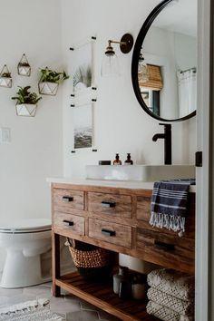 65 White Bathroom Vanity For 2019 You'll Love White Bathroom, Master Bathroom, Modern Bathroom, Brown Bathroom Decor, Neutral Bathroom, Minimalist Bathroom, Simple Bathroom, Design Rustique, Rustic Bathrooms