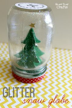 Glitter Snow Globe with Mod Podge #modgepodgeholiday #ad #Christmas #diy #kidcraft at GingerSnapCrafts.com