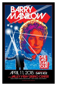 Barry Manilow San Diego concert poster.