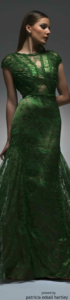 Green Lace Gown by Isabel Sanchis ~ 2015 . Green Gown, Green Lace, Wedding Dresses 2014, Green Fashion, Shades Of Green, Beautiful Outfits, Lovely Dresses, Lady, Designer Dresses