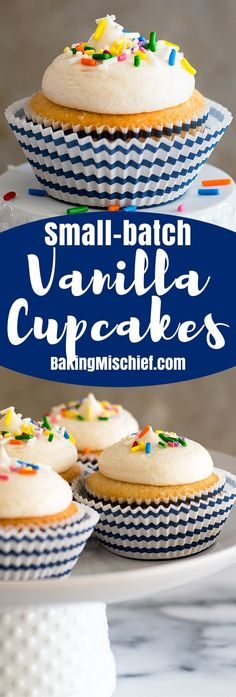 This Small-batch Vanilla Cupcakes recipe makes six fabulous moist vanilla cupcakes topped with a quick and easy American buttercream frosting.