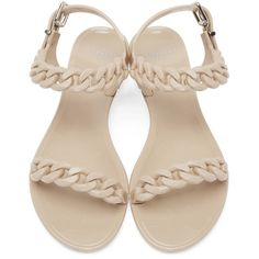 Givenchy Beige Jelly Chain Sandals (400 AUD) ❤ liked on Polyvore featuring shoes, sandals, jelly sandals, round cap, chain sandals, strap shoes and givenchy shoes