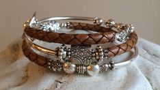 Leather and Silver Memory Wire Wrap Bracelet