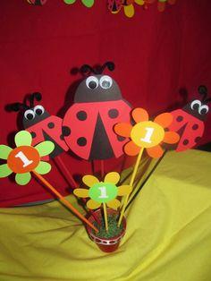 Ladybug Birthday Party Centerpiece by DreamComeTrueParties on Etsy, $25.00