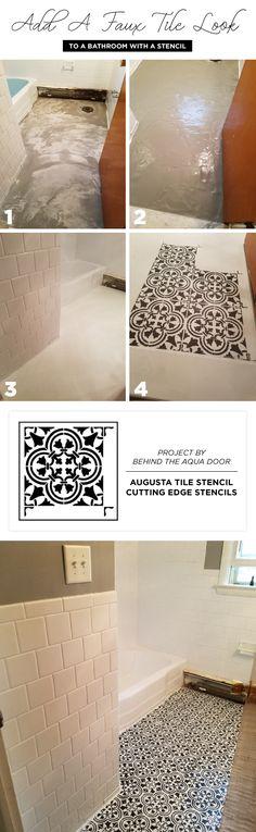 Cutting Edge Stencils shares a DIY stenciled cement bathroom floor makeover using the Augusta Tile Stencil from Cutting Edge Stencils. http://www.cuttingedgestencils.com/augusta-tile-stencil-design-patchwork-tiles-stencils.html