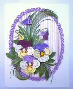 100% Handcrafted - 11 cm x 14 cm sized card with delicate spring pansies, perfect for framing and, or wall art, this greeting card will make every