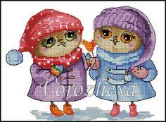 Gallery.ru / Совушки-подружки. - Платные.Сделаны по заказам. - Vorozheya Cross Stitch Owl, Cross Stitch Books, Cross Stitch Animals, Cross Stitching, Cross Stitch Embroidery, Cross Stitch Patterns, Owl Pet, Fun Hobbies, Blackwork