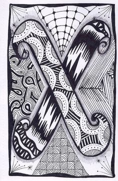 This is the twenty fourth letter of the Zebra Letters Tangle Alphabet. Prints are sold unmounted and are perfect for putting together to make a Doodle Alphabet, Doodle Art Letters, Doodle Art Journals, Doodle Lettering, Alphabet Coloring, Creative Lettering, Letter Art, Zentangle Drawings, Doodles Zentangles