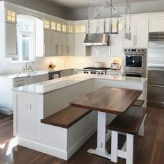32 The Best Small Kitchen Design Ideas - If you are reading this then it is possible that you are looking for a new kitchen that provides better functionality of the space available to you. Classic Kitchen, Modern Kitchen Island, Kitchen Island With Seating, Modern Kitchen Design, New Kitchen, Kitchen Decor, Kitchen Ideas, Kitchen Islands, Kitchen Trends
