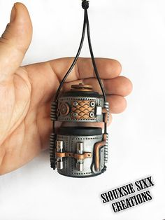 Steampunk Cylinder / Inro Box Pendant / Wearable Vessel / Tiny Purse / Necklace Made of Polymer Clay by SiouxsieSixxCreation