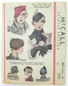 Vintage McCalls Millinery Beret Hat Pattern 1930s Cuffs for Gloves Scarf 167 | eBay