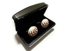 Baseball Cufflinks  Handmade Cuff Links Using a by SportsCufflinks