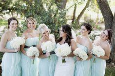 ranch wedding, bridesmaids, the retro ranch, pure lavish events, mandilynn photography, mint bridesmaid dresses, white wedding florals, bouquet