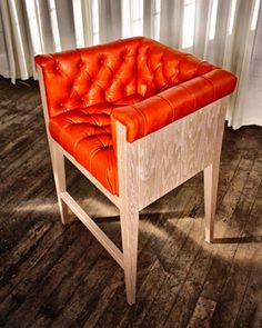 No.Forty barstool in oak and leather by The New Traditionalists  Interior Design
