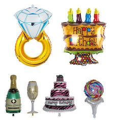 Supersize Cake Diamond Ring Bottle Foil Helium Balloon Wedding Party Decor HOT