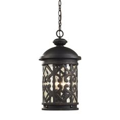 Tuscany Coast 3 Light Exterior Hanging Lamp In Weathered Charcoal
