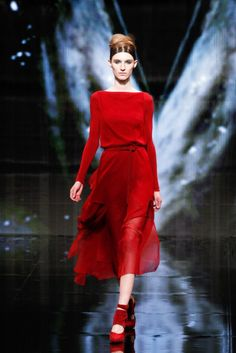 A model walks the runway at the Donna Karan fashion show during New York Fashion Week on Feb. 10, 2014.