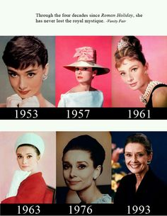 Many decades of Audrey Hepburn