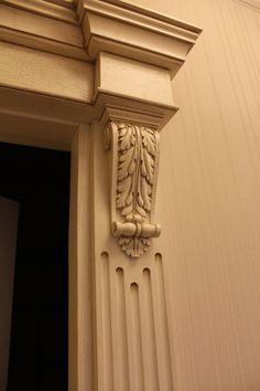 Kick out above the corbel door trim moulding Door Molding, Moldings And Trim, Moulding, Wooden Door Design, Wooden Doors, Front Door Trims, House Trim, Wood Carving Designs, Wood Trim