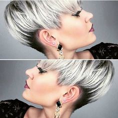 Modern short hairstyles These great hairstyles are very popular in Curious? Short Grey Hair, Short Hair Cuts, Short Hair Styles, Modern Short Hairstyles, Funky Hairstyles, Layered Hairstyles, Girl Hairstyles, Pixie Color, Grey Beards