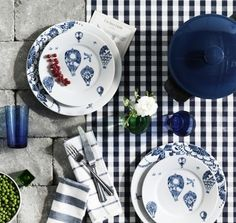 PROMENAD tableware, inspired by traditional blue and white porcelain and hand-painted tiles. Use it to  enjoy a beautiful, sun-drenched, holiday meal with good friends.