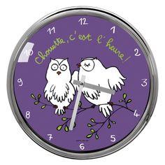 "Horloge ""Chouette, c'est l'heure !"""