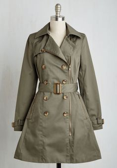 Throw a Trench in Things Coat. Impromptu invitations and unexpected meet-ups are no match for this olive green coat! #green #modcloth