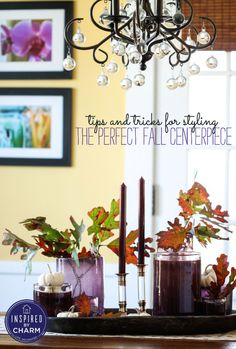 Tips for Styling the Perfect Fall Centerpiece via Inspired By Charm - love those lucite candlesticks!