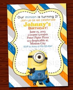 DIGITAL printable minion invitation - personalized invite - blue yellow orange - boy or girl - NICE - Minions - Despicable me #Christmas #thanksgiving #Holiday #quote