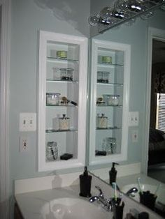 We could do this on the left side of the master bathroom sink counter space when we remodel: DIY: Medicine Cabinet