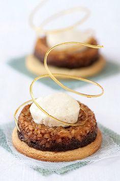 Hazelnut Tartelettes With Spice Creme Fraiche Parfait  #plating #presentation