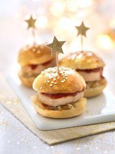 Des mini burgers de foie gras pour votre apéritif de Noël.