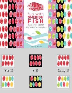 Swedish Fish AI Swatches & Vector