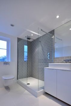 Gray And White Bathroom Design Ideas, Pictures, Remodel and Decor Loft Bathroom, Bathroom Layout, Ensuite Bathrooms, Bathroom Interior Design, Bathroom Renovations, Bathroom Gray, Metro Tiles Bathroom, Grey White Bathrooms, Bathroom Storage