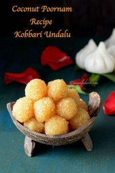Coconut Poornam Recipe / Kobbari Louz or Kobbari Undalu is a jaggery based sweet coconut mixture flavoured with cardamom which is used as a stuffing for some sweet recipes.