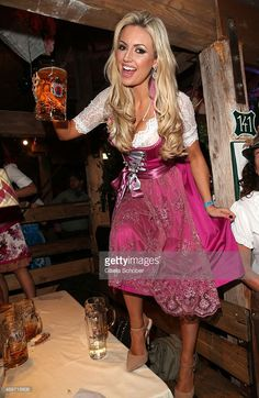 Rosanna Davison ( daughter of Chris de Burgh ) wearing a pink dirndl by Alpenmaedel during the 'Haarwerk Blond' Wiesn during the Oktoberfest 2015 at Kaeferschaenke beer tent at Theresienwiese on September 2015 in Munich, Germany. Oktoberfest Outfit, Dirndl Dress, Boho Dress, Beer Festival Outfit, Octoberfest Girls, Beer Maid, Beer Girl, German Women, Photography Women