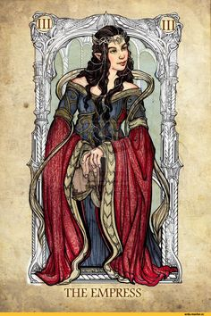 Tolkien tarot - Arwen as The Empress Jrr Tolkien, Art Carte, O Hobbit, Legolas, Gandalf, Aragorn, Thranduil, The Empress, Major Arcana