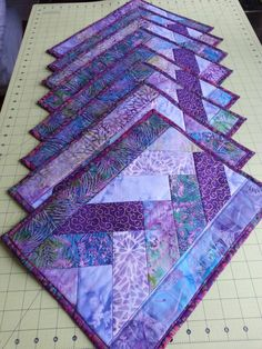SOLD Set of eight quilted placemats purple batik cotton