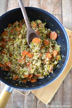 Riz pilaf aux légumes {poireaux-carottes}