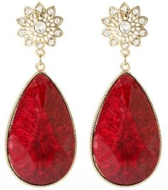 East Lake Earrings, found on Red Jewelry, Jewelery, Jewelry Accessories, Simply Red, Red Earrings, Amrita Singh, Red Fashion, Shades Of Red, Diamond Are A Girls Best Friend