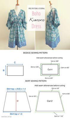 Facile gratuit Patron de couture: Faire cette robe kimono d'été bobo!  Rayon ou autre tissu léger drapé est recommandé :) Tutoriel au www.sewinlove.com.au