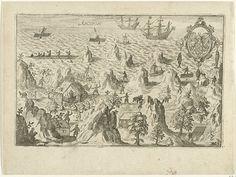 católicos franceses muertos por los portugueses en Annobón, 1600-1601. A la derecha el escudo de Moucheron Balthazar, patrocinador del viaje. Vintage World Maps, Coat Of Arms, Printmaking, Islands, French People, Voyage