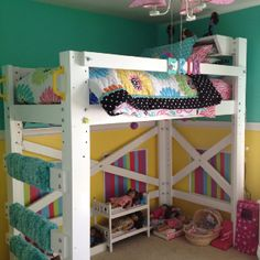 Erin's new OP Loftbed (built by dad) with bedding from PBTeen and newly painted room (by mom)!