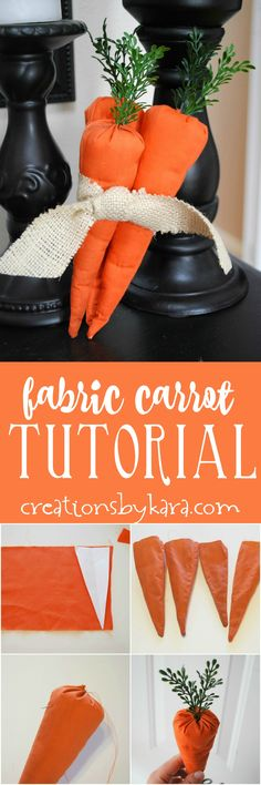 Fabric Carrot Tutorial - step by step instructions for sewing cute fabric carrots. Perfect Easter or spring decor! via creationsbykara.com