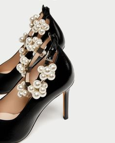 HIGH HEEL COURT SHOES WITH BEADED ANKLE STRAP