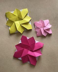 Origami Flowers Tutorial, Flower Tutorial, Envelope Tutorial, Paper Art, Paper Crafts, Modular Origami, Pinwheels, Flower Patterns, Envelopes