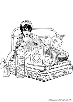 """Harry Potter coloring picture - to print as """"washout"""" onto notebook paper for letters!"""
