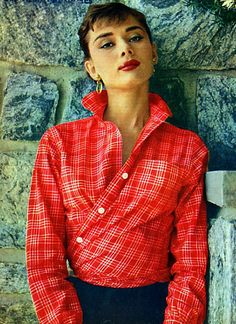 60's Fashion Moment: Audrey does Menswear Chic- love the twisted button down idea